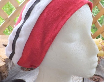 Strawberry and White 100% Linen Snood Cap with Black Ribbon Trim