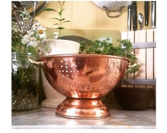 Vintage Copper Colander -Brass Handles- Farmhouse Rustic/Shabby Chic