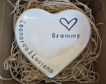 Grammy Gift, ring dish, CUSTOM heart ring holder, handmade earthenware pottery, Gift Boxed, Made to Order