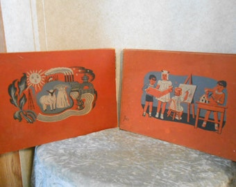 1940's Pair of River Oaks Academy Hard Back School Books