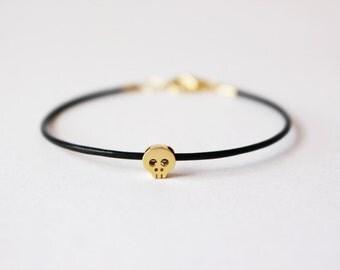 Tiny Gold Skull leather Bracelet