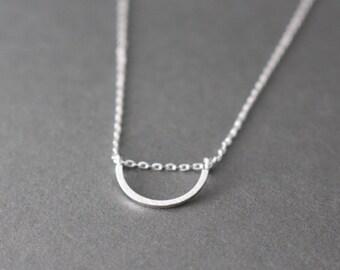 Half Circle Necklace // Geometric Necklace // Silver half Circle necklace
