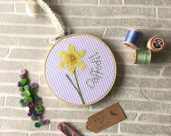 SALE Daffodil, Fabric, Embroidery Hoop, Welsh Gift, Freemotion Embroidery, 6 inch Hoop, Spring Pastels, Spring Decor, Easter Gift,