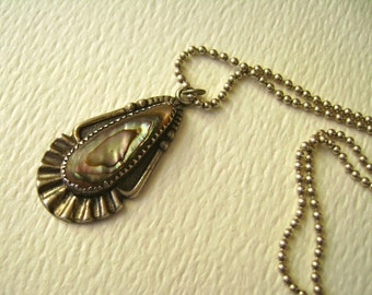 Bell Trading Post sterling and abalone pendant necklace