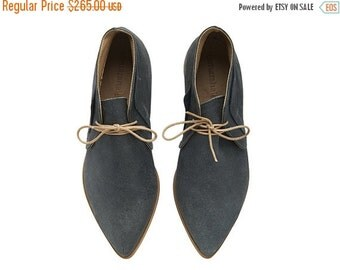 LAST SIZES SALE Nika Dark Stone Leather handmade Chukka Boots /  Grey flat shoes by Tamar Shalem