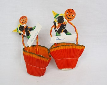2 Vintage Halloween crepe paper Black Cat candy Basket nut cup 1950s