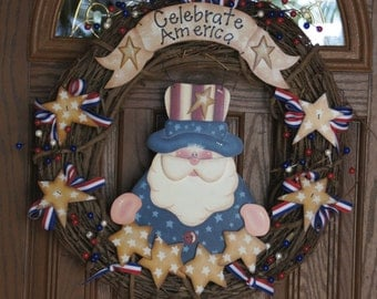 "Celebrate America Patriotic 20"" Grapevine Wreath - Wood Americana Uncle Sam and Stars - 4th of July Door Decoration"