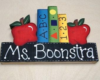 Teacher Appreciation Wood Gift - Personalized Teacher Desk Sign