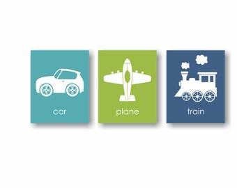 Transportation Art, Plane Art, Car Art, Train Decor, Boys Playroom Art, Kids Wall Art, Toddler Bedroom Art For Boys Room Decor - Set of 3