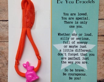 Be You Bracelet- Orange w/Pink Bunny - Useful in Helping With Fidgeting, Sensory Needs, Separation Anxiety, Positive Reinforcement