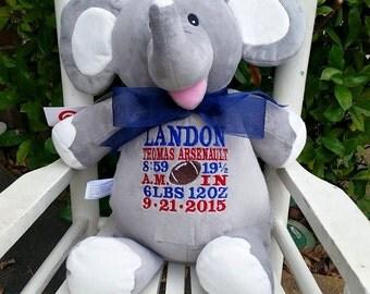 Personalized elephant, grey elephant,birth announcement elephant, Baby Gift, Baby Cubby, Stuffed Elephant, Alabama Elephant