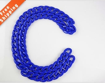 Free Shipping - Blue Acrylic Open Link Chain, Plastic Chain, 23x18mm, Pkg of 1m(1.1 yards.), N08D.BL55.L1M