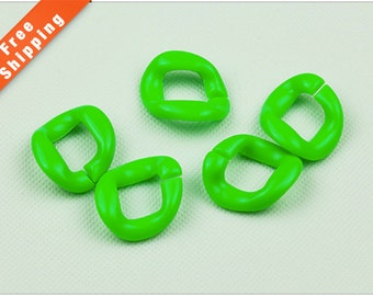 FreeShipping-50PCS Fluorescent Green Chunky Acrylic Chain Link, Chunky Plastic Chain, Bracelet Chain, Necklace Chain, 27x27mm, L0K3.FG71.P50