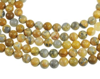 """Crazy Lace Agate 12mm Round Gemstone Beads - Full 16"""" Strand - About 35 Beads - Neutral Colors and Fantastic Designs"""