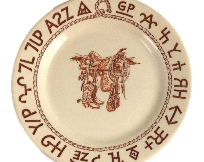 Vintage Wallace China Boots and Saddle Plate Restaurant Ware - Western Plates - Westward Ho Bread Butter Plate