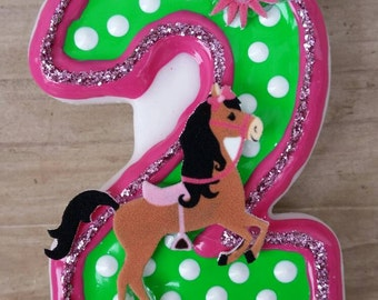 Pretty Ponies Birthday Candle, Horse Birthday Candle