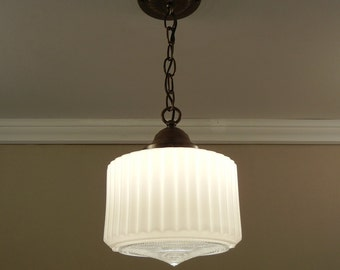 Vintage Art Deco Pendant Light 1930's Milk Glass Shade & Solid Brass Ceiling Fixture - Rewired