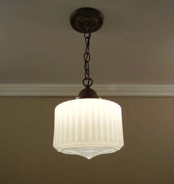 Vintage Art Deco Pendant Light 1930 39 S Milk Glass Shade