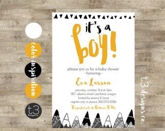Modern Mountains BABY SHOWER Invitation, baby shower invite, triangle baby shower, boy baby shower, simple, minimal, modern baby