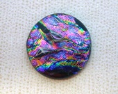 36mm Fused Dichroic Glass Cabochons - Rainbow of Lava Color - TR675