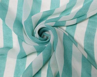 Seafoam White Stripe Chiffon Fabric Style 8043