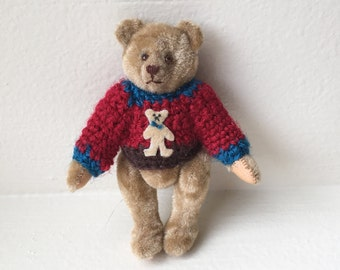 Miniature Tan Bear with Sweater by Carol Stewart 1987 (JL)