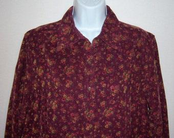 Vintage Eddie Bauer Wine Maroon Plum Pin Wale Corduroy Small Ditsy Floral Flower Print Prairie Dress 14 Large