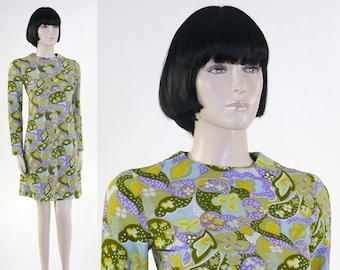 Adult Women's 1970's Polyester Mini Dress - Size 9 - Go Go Dress - Purple, Yellow, Green Flowers - Flower Dress - Disco Dress