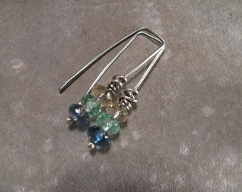 Czech Glass and Sterling Silver Earrings Handmade/Hand Forged  Dangle Earrings-Toniraecreations