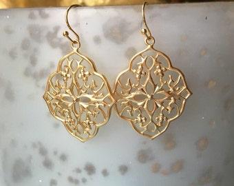 Colorful Stone Gold Filigree Earrings