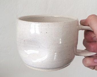 speckled white thumbdent mug - ceramic coffee mug - handmade pottery