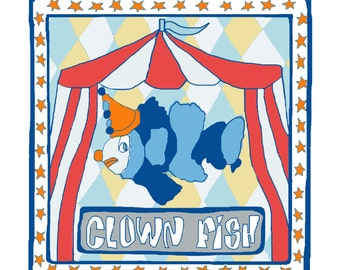 "Funny fish greeting card with a ""Clown fish"" design"