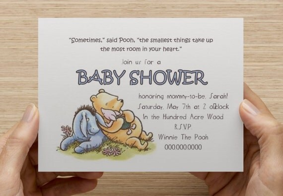 classic winnie the pooh baby shower invitation print your own