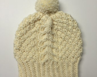 Cream Cabled Winter Hat with Pom Pom