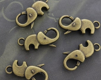 Large Elephant  Lobster Claw Clasp, Antique Brass Lobster 5 Pieces