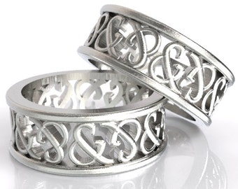 Ampersand Ring His & Hers Wedding Rings Set Custom Made in Sterling Silver, Made in Your Size R5002