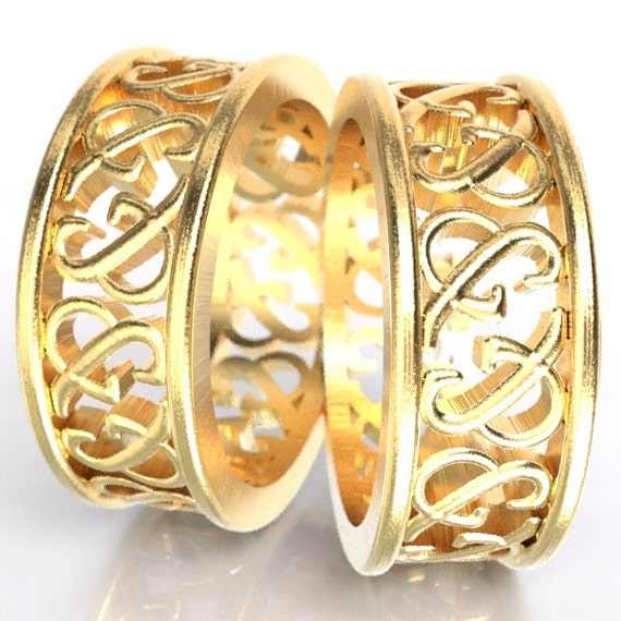 Ampersand Gold Rings His & Hers Wedding Rings Set Custom Made in 10K 14K 18K Gold or Palladium, Made in Your Size 5002