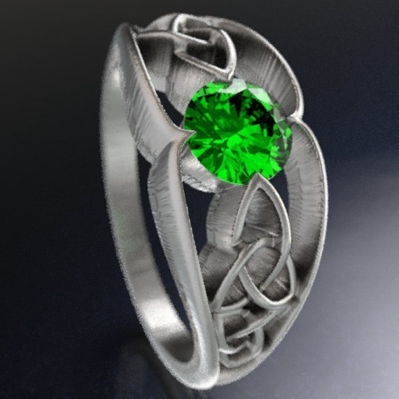 Celtic Wedding Ring With Trinity Knot Design With Emerald Stone in Sterling Silver, Made in Your Size CR-1048