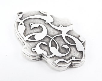 Floral Hamsa Hand of Fatima Pendant Tray Cabochon Setting - Flat Edge -  Matte Anitque Silver Plated