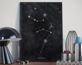 zodiac Aquarius constellation - minimal contemporary astronomy style art print