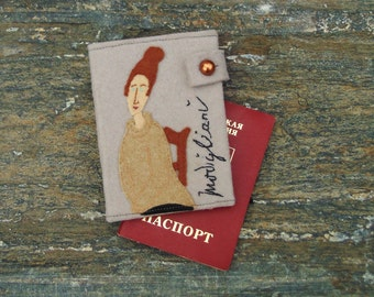Hand Embroidered Modigliani Passport Cover/Travel Passport Holder/Hand embroidered Case/Travel Gift