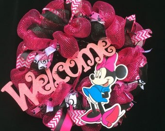 Welcome Deco Mesh Wreath - Minnie - Mouse - Disney - Custom Wreath - Handmade Wreath - Welcome Home Wreath