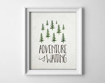 Woodland Nursery Art Print - Adventure Is Waiting - Neutral Nursery Decor - Baby Shower Gift - Buy One Get One Free - Trees - SKU:124