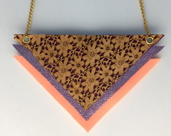Metallic leather/ Lasercut leather/Neon Neoprene Geometric Triangle Bib Necklace
