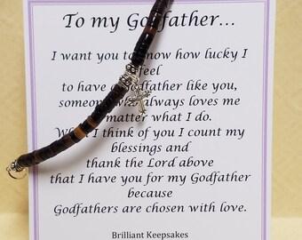 To My Godfather Gift Keepsake Bracelet Sterling Silver Cross Mens Jewelry
