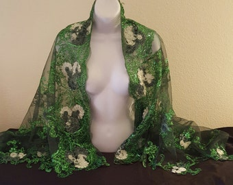 Beautiful Kelly Green Floral Embroidered Sheer Tulle  East Indian Inspired Bridal Jacket Shrug Wrap Bolero Top Wedding Club Party