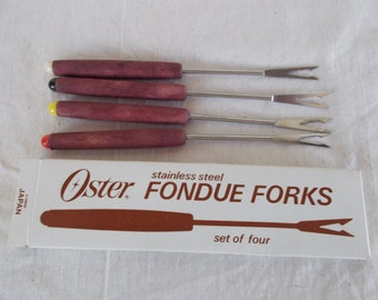 Vintage Oster Stainless Steel Fondue Forks Set Of Four