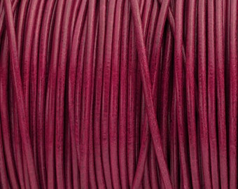 2MM Round Leather Cord - Fuchsia - 5M/5.46YD - High Quality European Leather Cord