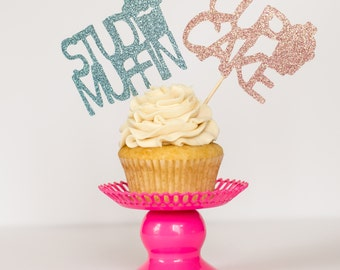 Gender Reveal Glitter Cake Toppers Stud Muffin Cupcake Boy Girl Pink Blue Baby Shower