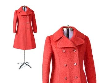 Red Coat, Womens Red coat, Red peacoat, 1960s Coat, Red Coat, Mod Coat, Womens vintage Coat
